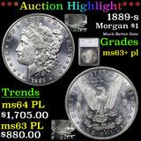 ***Auction Highlight*** 1889-s Morgan Dollar $1 Graded ms63+ pl By SEGS (fc)