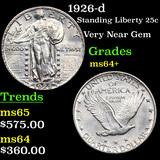1926-d Standing Liberty Quarter 25c Grades Choice+ Unc