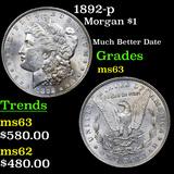 1892-p Morgan Dollar $1 Grades Select Unc