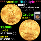 ***Auction Highlight*** 1909-s St. Gaudens $20 Gold Double Eagle Graded ms65+ By SEGS (fc)