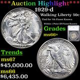 ***Auction Highlight*** 1929-d Walking Liberty Half Dollar 50c Graded ms66+ By SEGS (fc)