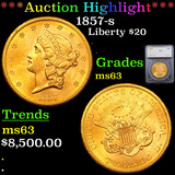 ***Auction Highlight*** 1857-s Gold Liberty Double Eagle $20 Graded ms63 By SEGS (fc)