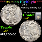 ***Auction Highlight*** 1927-s Walking Liberty Half Dollar 50c Graded ms65 By SEGS (fc)