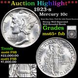 ***Auction Highlight*** 1923-s Mercury Dime 10c Graded ms65+ fsb By SEGS (fc)