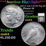 ***Auction Highlight*** 1927-d vam 2 I3 R4 Top 50 Peace Dollar $1 Graded ms64 By SEGS (fc)