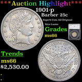 ***Auction Highlight*** 1901-p Barber Quarter 25c Graded ms66 By SEGS (fc)