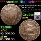 ***Auction Highlight*** 1787 New Jersey Maris 31-L R-3 Colonial Cent 1c Graded xf40 By SEGS (fc)