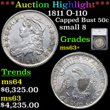 ***Auction Highlight*** 1811 O-110 Capped Bust Half Dollar 50c Graded ms63+ By SEGS (fc)