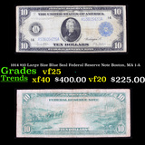 1914 $10 Large Size Blue Seal Federal Reserve Note Boston, MA 1-A Grades vf+