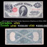1917 $1 Large Size Legal Tender, Signatures of Spellman & White, FR39  Grades vf+