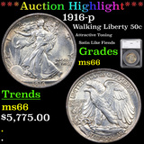 ***Auction Highlight*** 1916-p Walking Liberty Half Dollar 50c Graded ms66 By SEGS (fc)