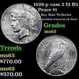 1928-p vam 2 I3 R5 Peace Dollar $1 Grades Select Unc