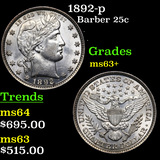 1892-p Barber Quarter 25c Grades Select+ Unc