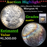 ***Auction Highlight*** 1896-p Monster Rainbow Toned Morgan Dollar $1 Graded ms65+ By SEGS (fc)
