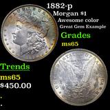 1882-p Morgan Dollar $1 Grades GEM Unc