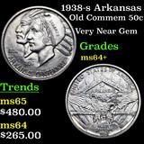 1938-s Arkansas Old Commem Half Dollar 50c Grades Choice+ Unc