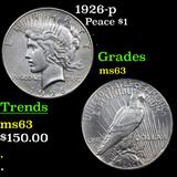 1926-p Peace Dollar $1 Grades Select Unc