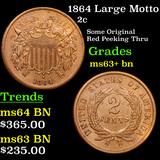1864 Large Motto Two Cent Piece 2c Grades Select+ Unc BN
