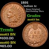 1891 Indian Cent 1c Grades Select Unc BN