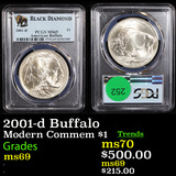 PCGS 2001-d Buffalo Modern Commem Dollar $1 Graded ms69 By PCGS