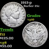 1913-p Barber Quarter 25c Grades vg+