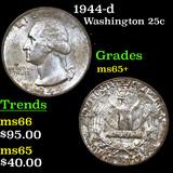 1944-d Washington Quarter 25c Grades GEM+ Unc