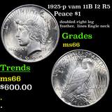 1925-p vam 11B I2 R5 Peace Dollar $1 Grades GEM+ Unc