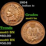 1904 Indian Cent 1c Grades Select Unc BN