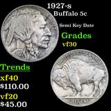 1927-s Buffalo Nickel 5c Grades vf++