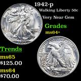 1942-p Walking Liberty Half Dollar 50c Grades Choice+ Unc