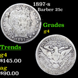 1897-s Barber Quarter 25c Grades g, good