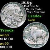 1918-p Buffalo Nickel 5c Grades Choice AU/BU Slider