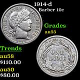 1914-d Barber Dime 10c Grades Choice AU.