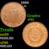 1866 Two Cent Piece 2c Grades xf+
