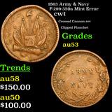 1863 Army & Navy F-299-350a Mint Error Civil War Token 1c Grades Select AU