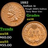 1882 Indian Cent 1c Grades Choice AU/BU Slider