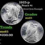 1925-p Peace Dollar $1 Grades GEM Unc