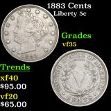 1883 Cents Liberty Nickel 5c Grades vf++