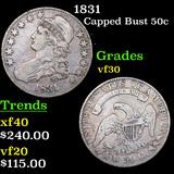 1831 Capped Bust Half Dollar 50c Grades vf++