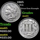 1865 Three Cent Copper Nickel 3cn Grades GEM Unc