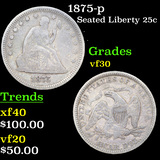 1875-p Seated Liberty Quarter 25c Grades vf++