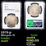 NGC 1879-p Morgan Dollar $1 Graded ms63 By NGC