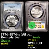 PCGS 1776-1976-s Silver Kennedy Half Dollar 50c Graded ms67 By PCGS