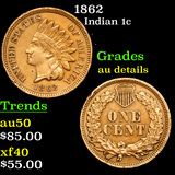 1862 Indian Cent 1c Grades AU Details