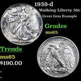 1939-d Walking Liberty Half Dollar 50c Grades GEM Unc
