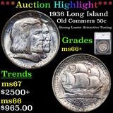***Auction Highlight*** 1936 Long Island Old Commem Half Dollar 50c Graded ms66+ By SEGS (fc)