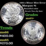 1881-s Minor Mint Error Morgan Dollar $1 Grades GEM+ Unc