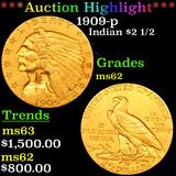 ***Auction Highlight*** 1909-p Gold Indian Quarter Eagle $2 1/2 Grades Select Unc (fc)