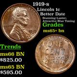 1919-s Lincoln Cent 1c Grades GEM+ Unc BN
