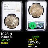 NGC 1923-p Peace Dollar $1 Graded ms64 By NGC